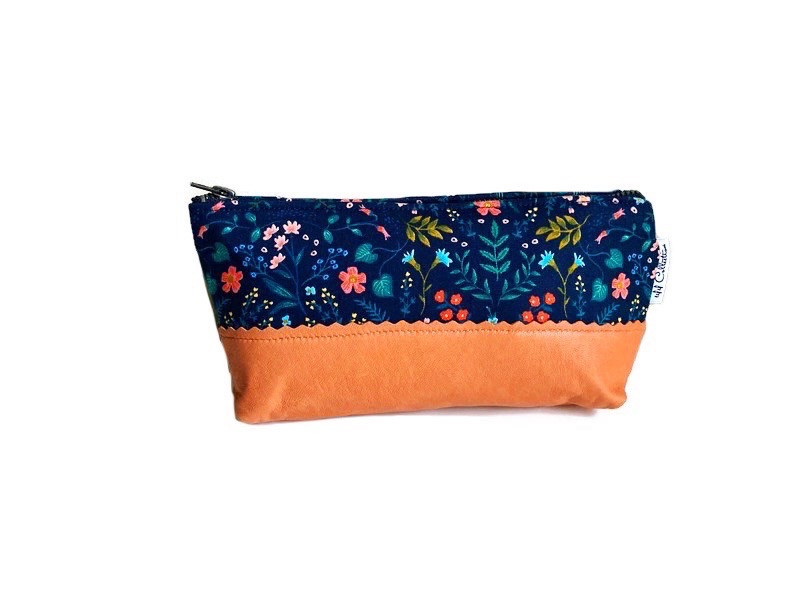Leather Cosmetic Bag - Blue and Orange Floral Print