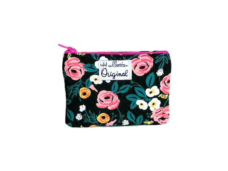Small Coin Purse - Rose Print Black