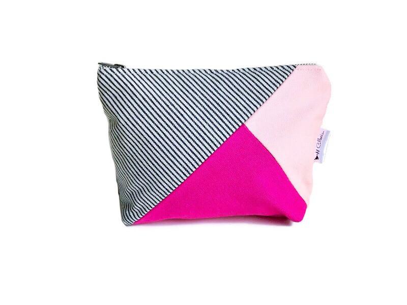 Handmade Makeup Bag - Pink and Fuchsia Canvas