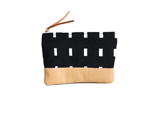 Dashes Black Leather Coin Purse