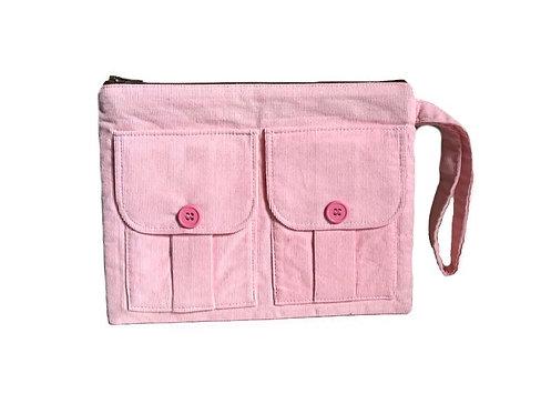Pink Corduroy Wallet Wristlet