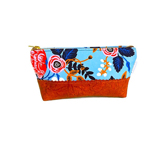 Birch Blue Leather Cosmetic Bag