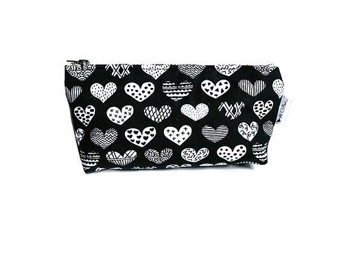 Hearts Black Makeup Bag