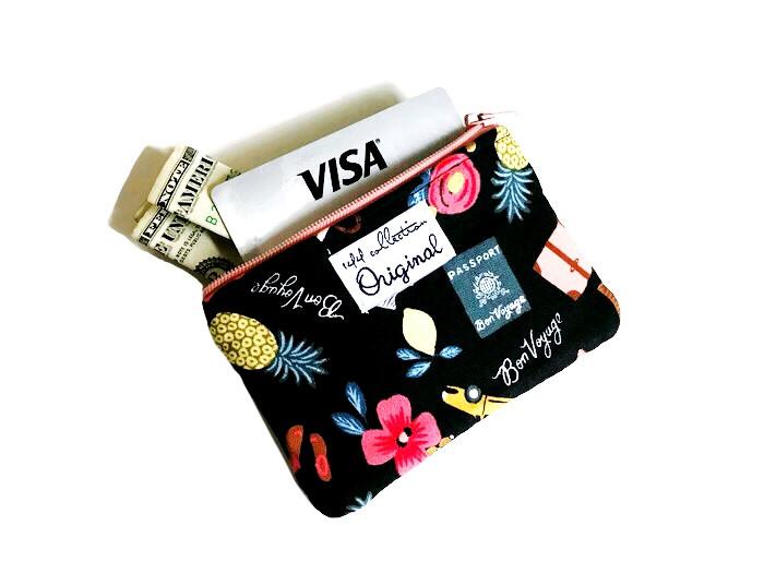 Handmade Handbags - Black Coin Purse Wallet Bon voyage
