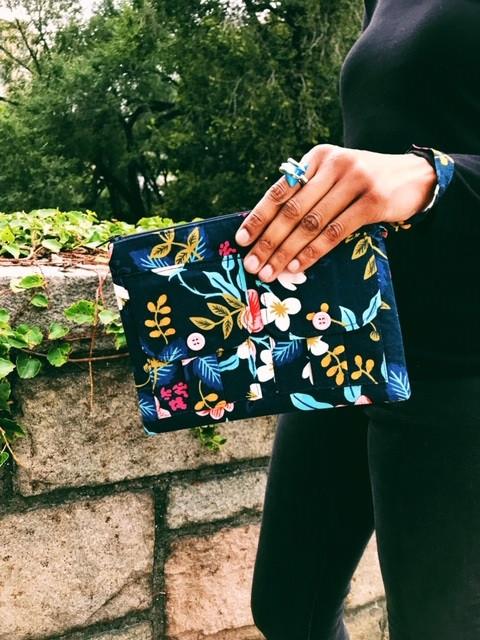 Smartphone Wallet Wristlets - blue floral print