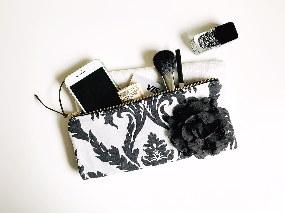 Handmade Evening Bags - Gray and Black Damask Print