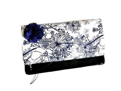 Leather Clutch Bag - Blue Floral Print