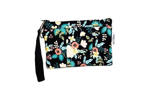 black floral wristlet bag