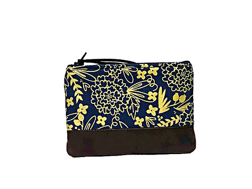 Leather Coin Pouch - Blue and Gold Floral Print