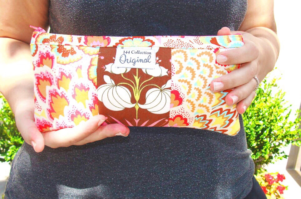Handmade Pouch - Brown and Pink Floral Print