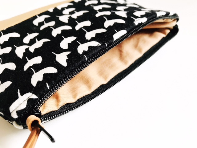 Floral Black Leather Coin Purse Inside View