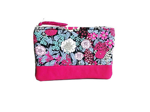 Black and Pink Floral Leather Coin Purse