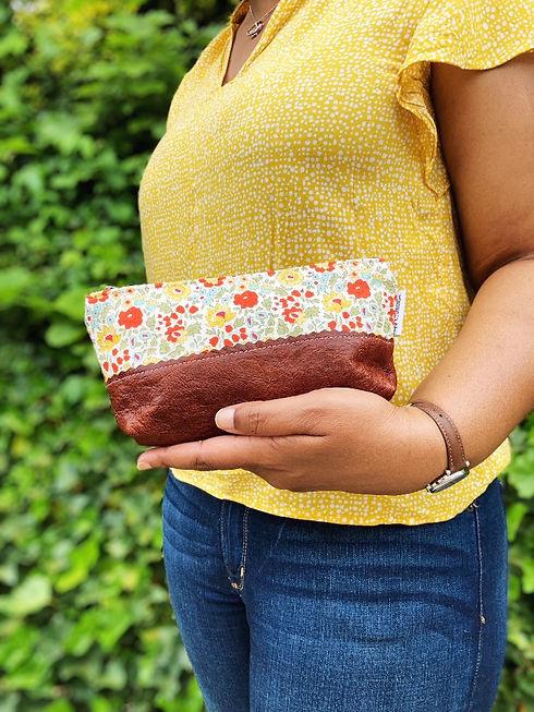 leather-makeup-bag-orange-yellow-floral-