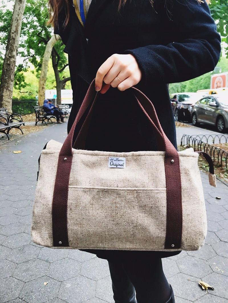 Handmade Handbags - Brown Wool Tweed Tote Bag