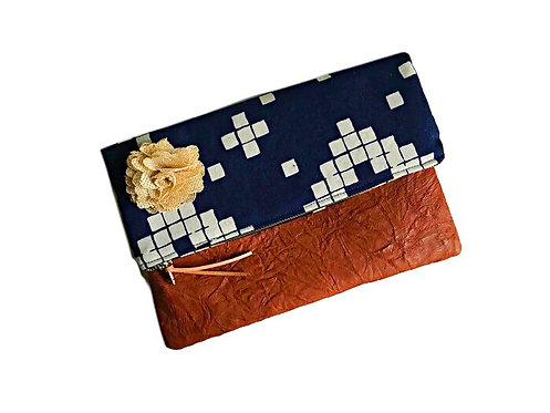 Blue Fold Over Leather Clutch
