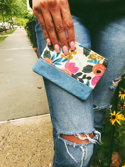 Women's Coin Purse - Blue with leather accent