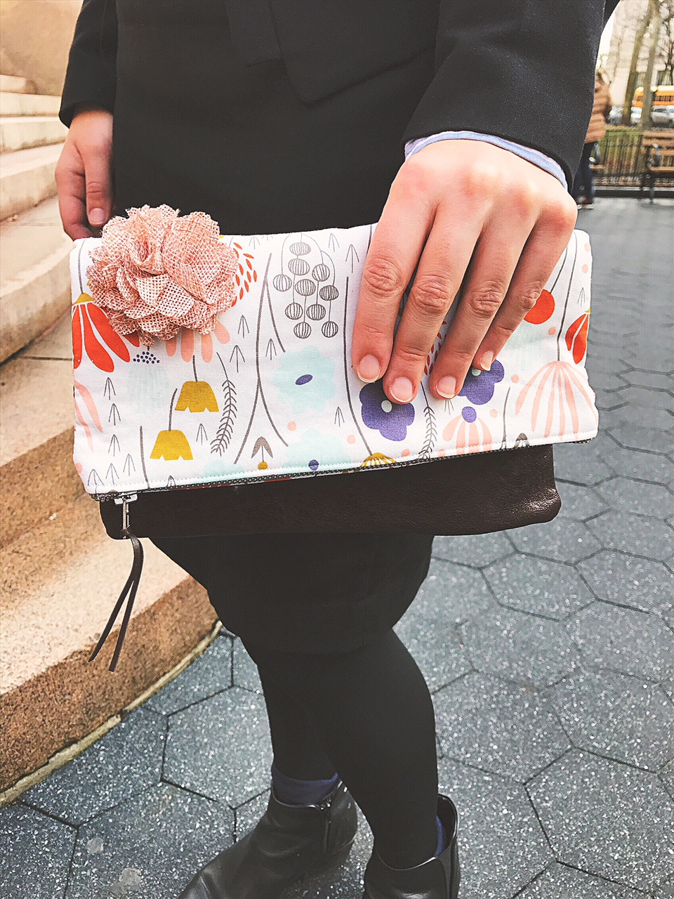 Leather Clutch Bag - White Floral Print