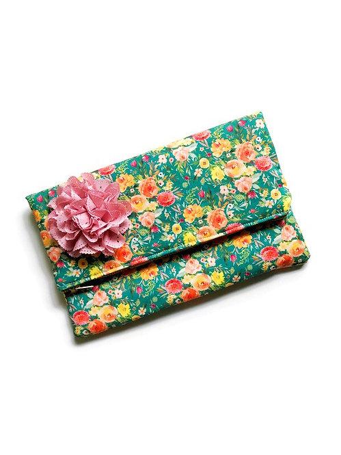 Handmade Clutch - Green Floral Print