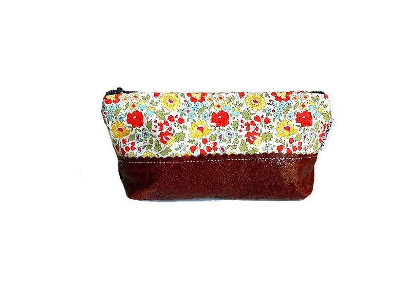 Leather Cosmetic Bag - Yellow and Orange Floral Print