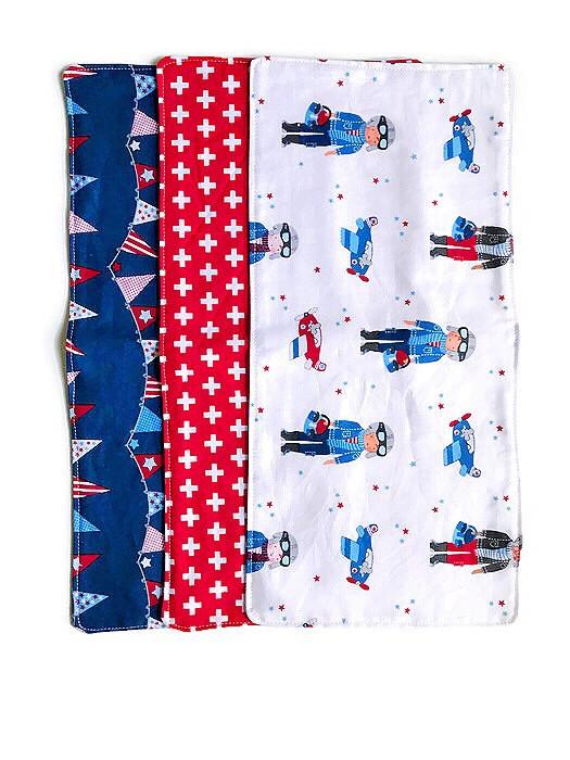 Baby Boy Burp Cloths - airplane print fabric