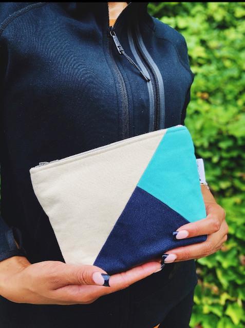 canvas zipper pouch - navy blue and aqua