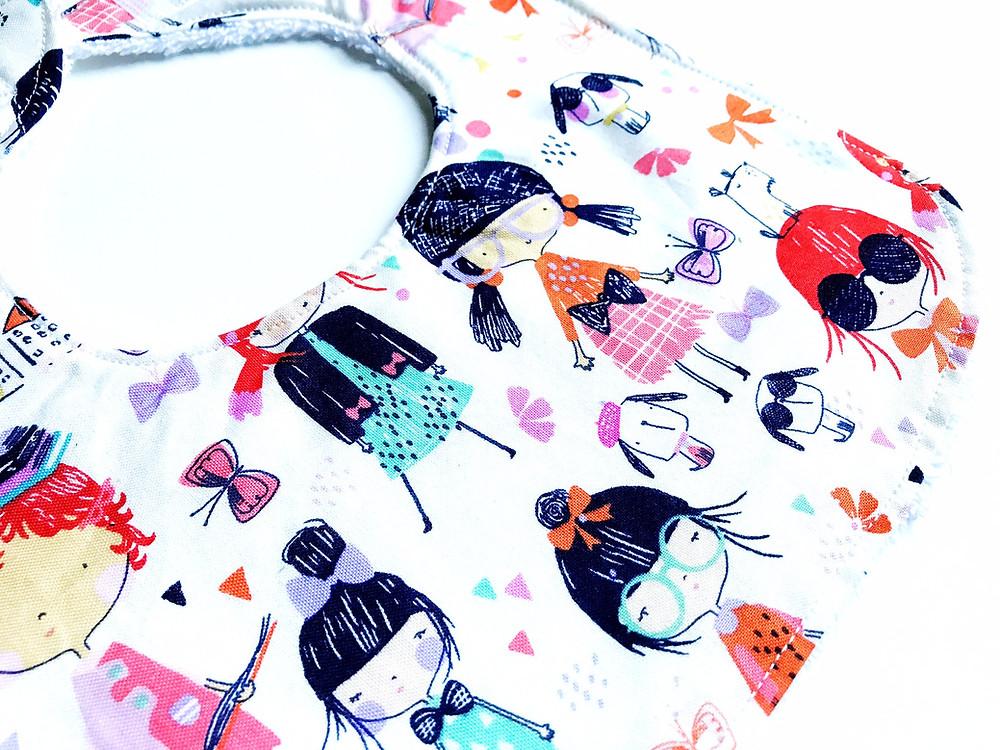 Baby Girls Bib - School Days Girl Print - Handmade Bib Side View