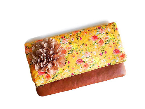 Yellow Flower Fold over Leather Clutch
