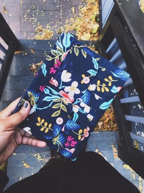 Womens wristlet wallet - navy blue