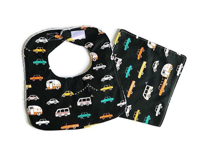 Handmade Baby Bibs and Burp Cloths - Car Prints