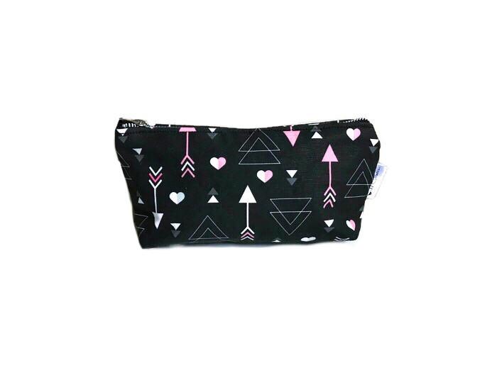 Makeup Bags Made in the USA - Arrow and Heart Print Makeup Bag