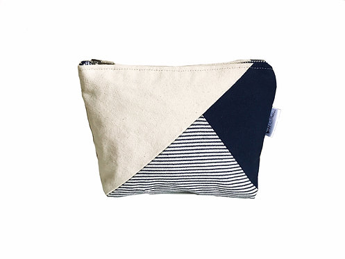 Women's Blue Canvas Makeup Pouch