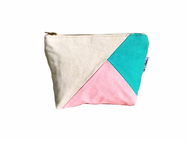 Color Block Bag - pink and aqua canvas