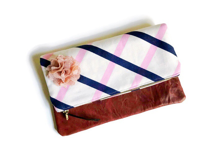 Foldover Clutch Bag - blue and pink print