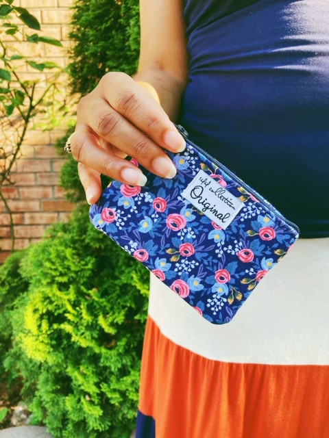 Change Purse - rifle paper co fabric blue