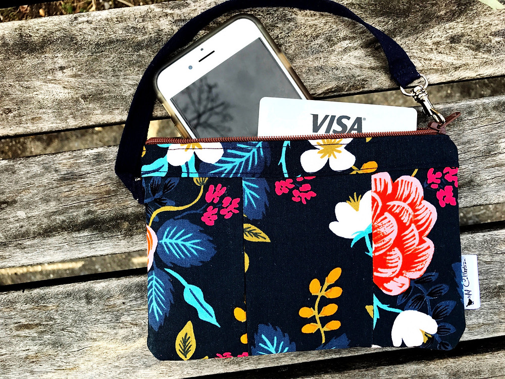 Handbags Made in the USA - Black Floral Print Wristlet