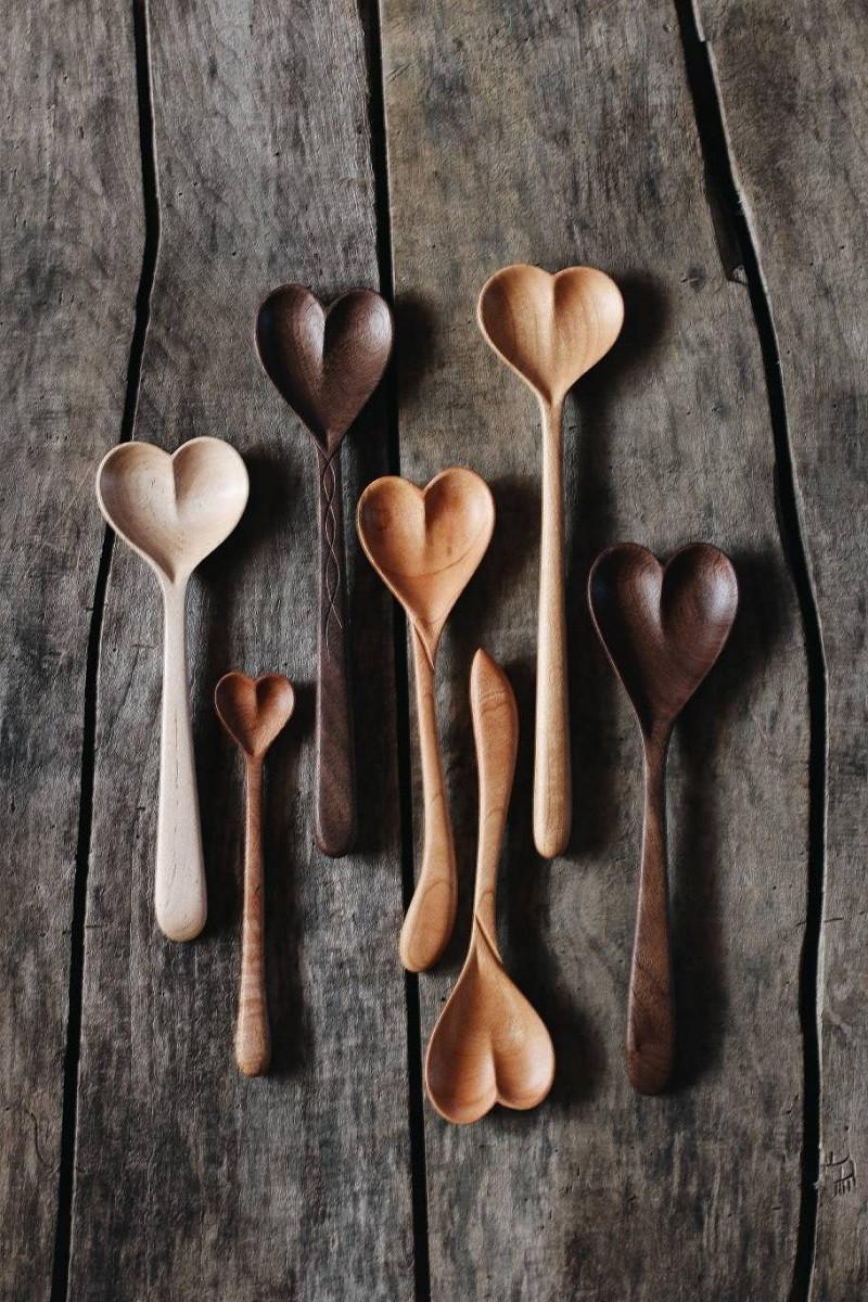 Heart Print Wooden Spoons