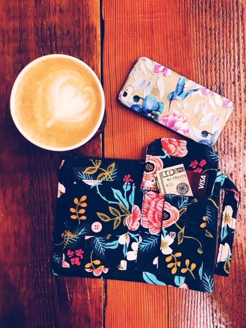 wristlet wallet for phone - navy blue floral print