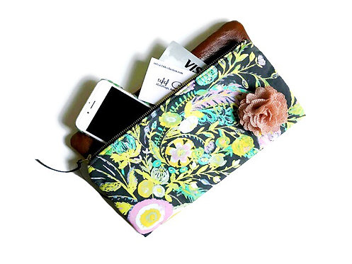 Fold Over Leather Clutch Bag - Grey Floral Print