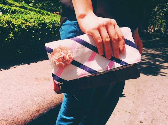 Summer Clutch Bags - Pink and Blue Stripes Leather