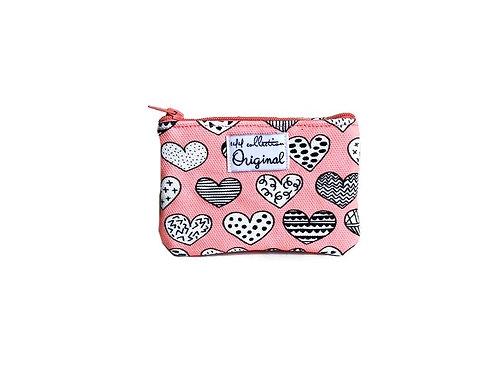 coin purse - heart print pink
