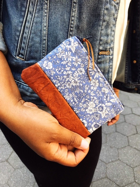 leather coin purse - blue and white floral print