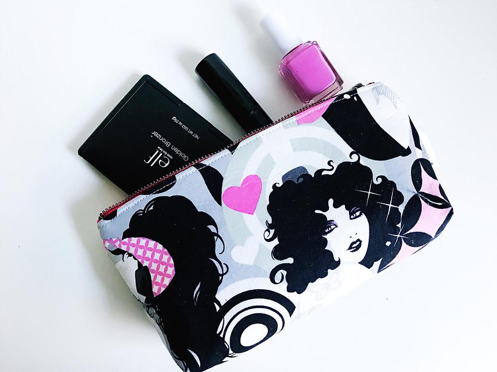 Inked Girls Pink Makeup Bag front view
