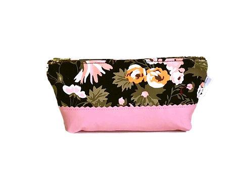 Floral Black Leather Makeup Bag