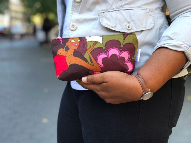 Small Cute Makeup Bags - Afro Girl Print in Red