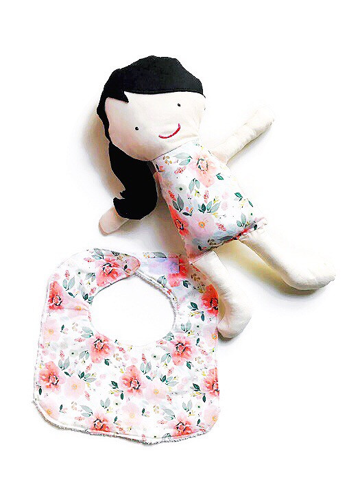 Baby Girl Bib Floral Print with Fabric Doll