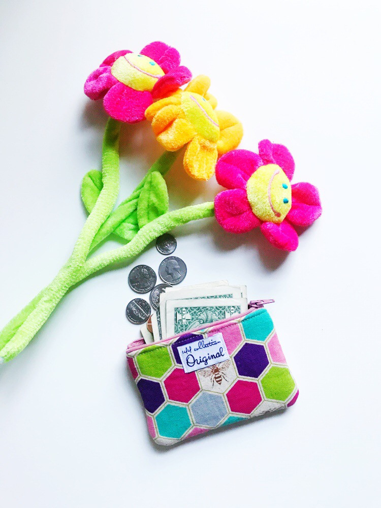 Back to School Girls Coin Purses - Bee Print