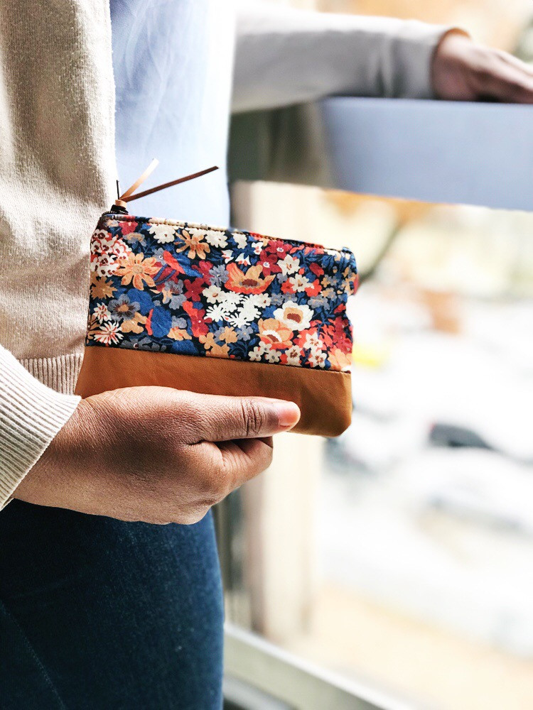 leather coin purse - blue and brown floral print