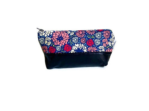 Black Flowers Leather Zipper Pouch