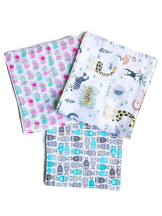Baby Boy Burp Cloths - safari print fabric
