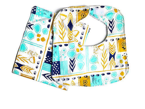 August Flowers Bib and Burp Cloth